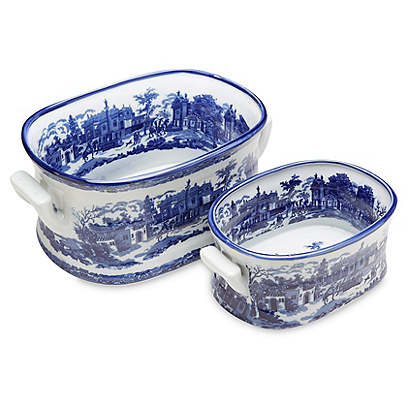 Asst. of 2 Patterned Planters, Blue