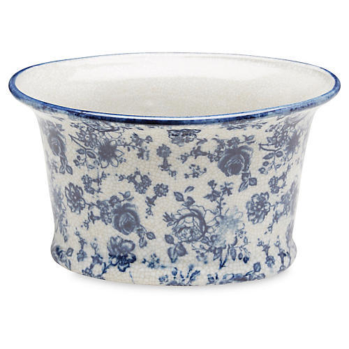 "9"" Ceramic Planter, Blue/White"