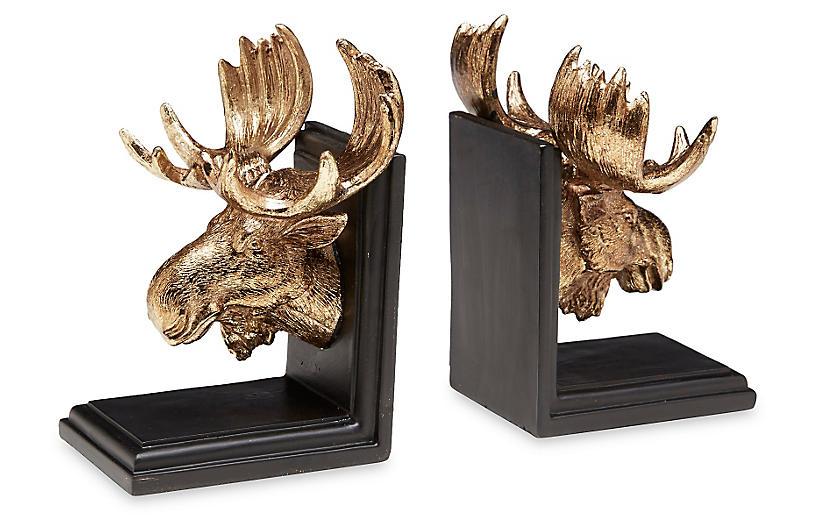 Set of 2 Moose Bookends - Gold/Black