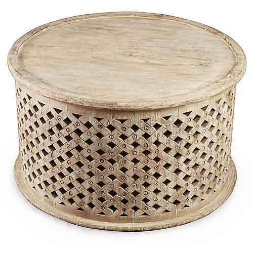 Ethan Round Coffee Table, Weathered Sand