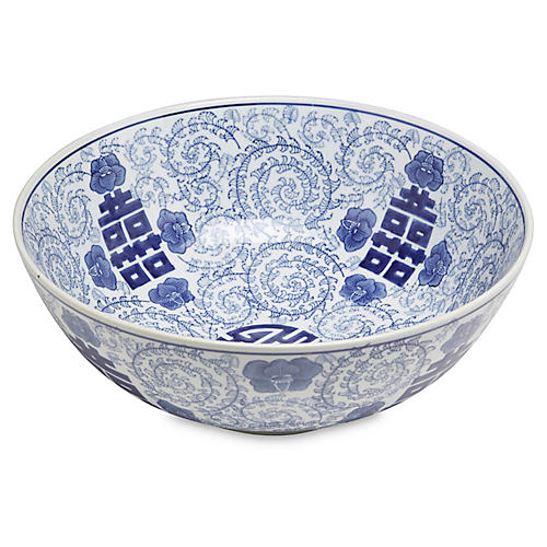 "14"" Happiness Decorative Bowl, Blue/White"