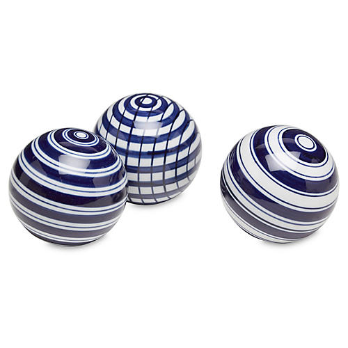 Striped Sphere Accents, Blue/White