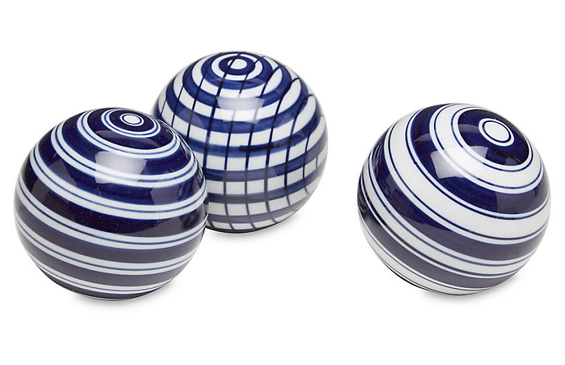 Asst. of 3 Striped Sphere Accents, Blue/White