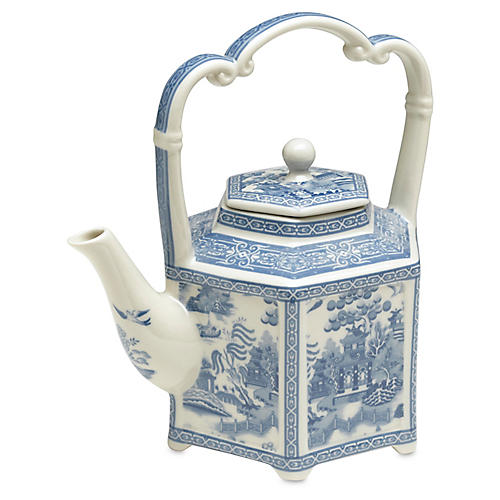 "9"" Chinoiserie Porcelain Teapot, Blue/White"