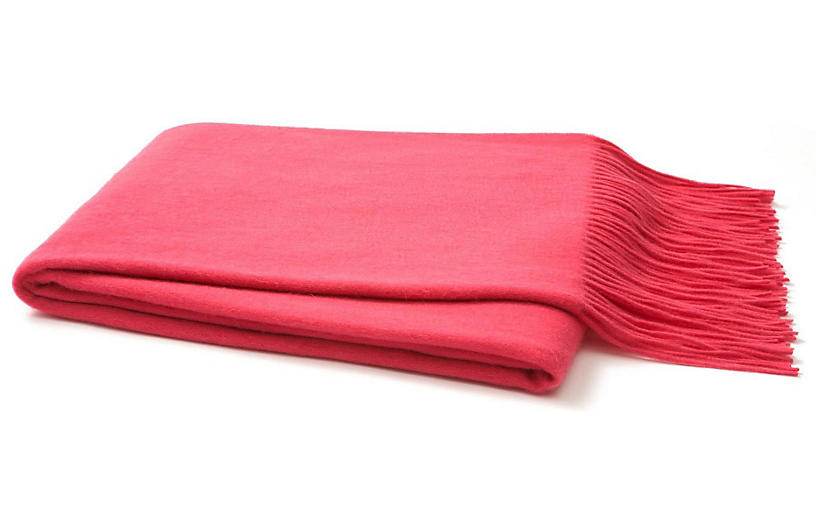 Solid Cashmere Throw, Pink