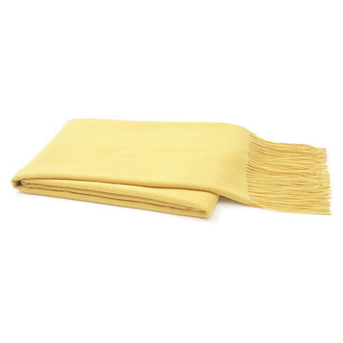 Solid Cashmere Throw, Yellow