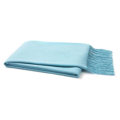 Solid Cashmere Throw, Light Blue