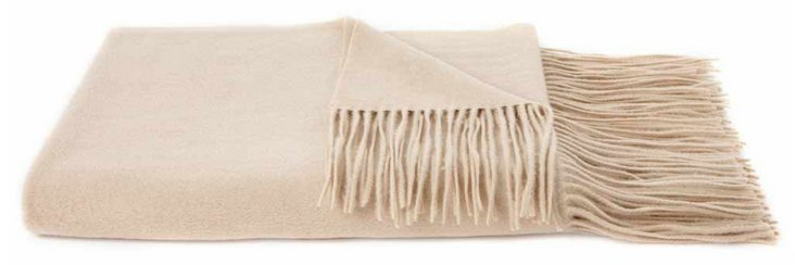 Solid Cashmere Throw, Oatmeal