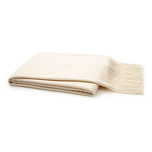 Solid Cashmere Throw, Cream