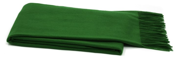 Solid Cashmere Throw, Green