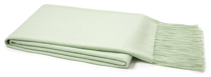 Solid Cashmere Throw, Seafoam Green