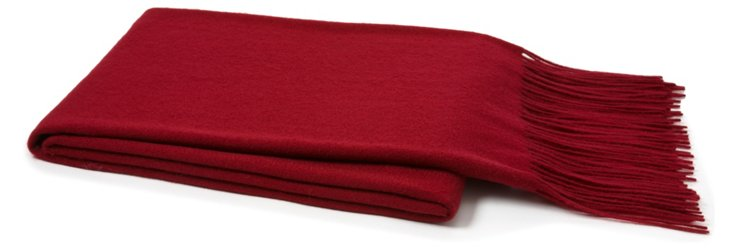 Solid Cashmere Throw, Claret Red