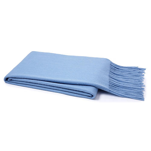 Solid Cashmere Throw, Baby Blue
