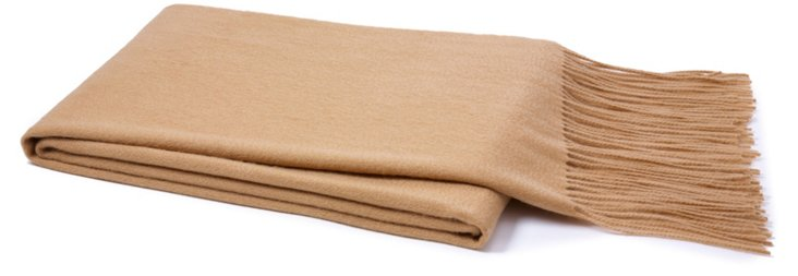 Solid Cashmere Throw, Taupe