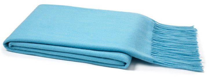 Cashmere & Wool Throw, Aqua Blue