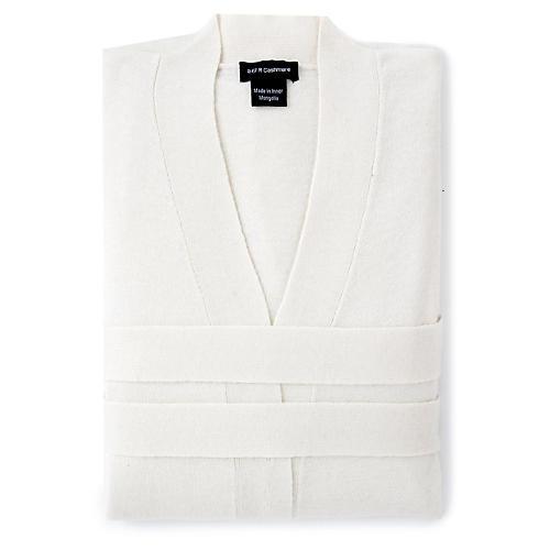 Cashmere-Blend Robe, Crème Fraiche