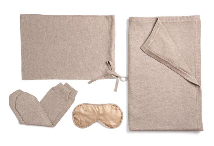 4-Piece Cashmere Blend Travel Set, Sand