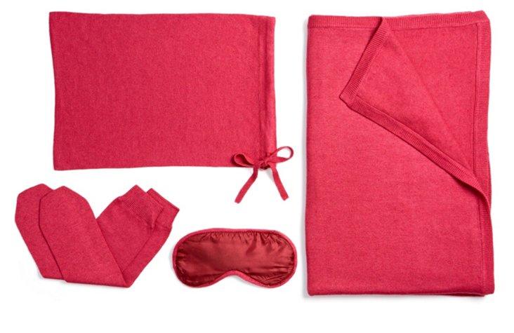 4-Piece Cashmere Travel Set, Cranberry