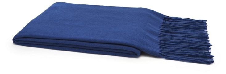 Solid Cashmere Throw, Cobalt Blue