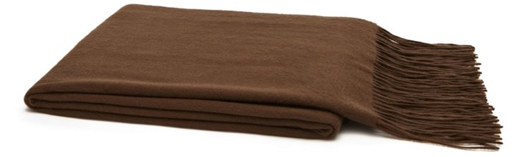 Solid Cashmere Throw, Cappuccino