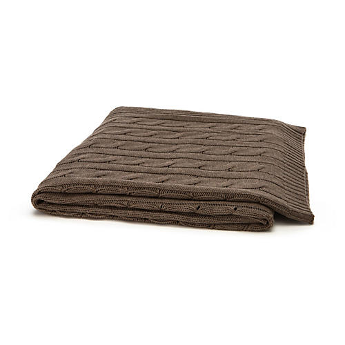 Cable-Knit Cashmere-Blend Throw, Brown