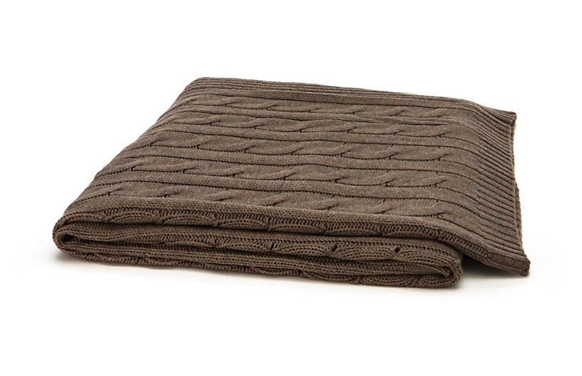 Cable-Knit Cashmere-Blend Throw - Brown
