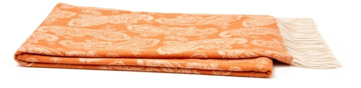 Jacquard Cashmere-Blend Throw, Orange