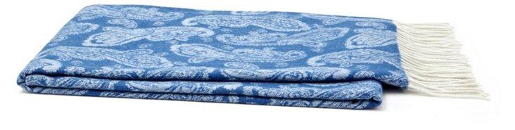 Jacquard Cashmere-Blend Throw, Blue