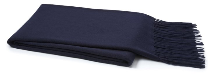 Lush Cashmere-Blended Throw, Navy