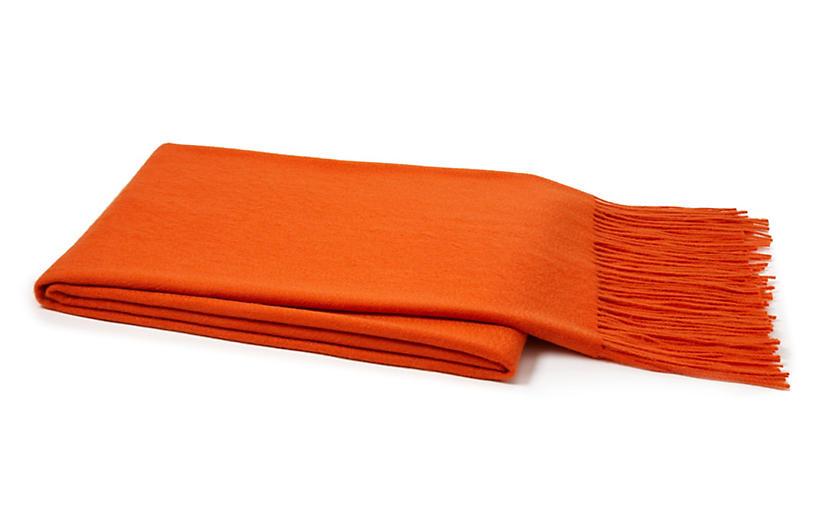 Cashmere-Blend Throw, Orange