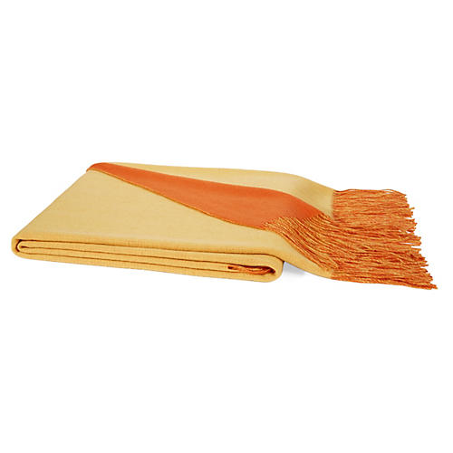 Reversible Cashmere-Blend Throw, Orange