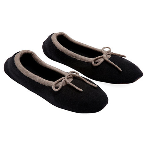 Merino Wool Slippers, Black
