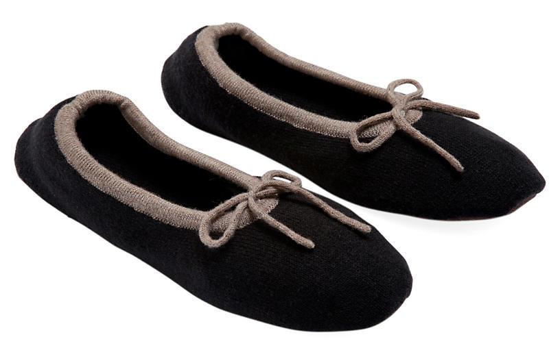 Merino Wool Slippers, Black