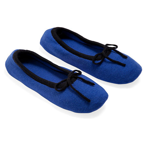 Merino Wool Slippers, Cobalt