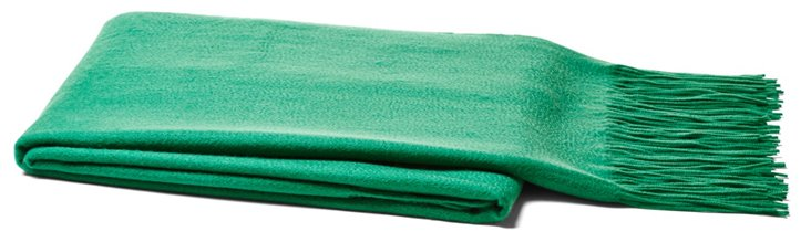 Brushed Cashmere Throw, Emerald