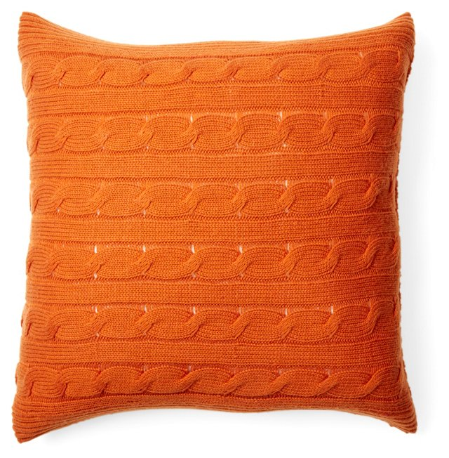 Cable Knit 20x20 Pillow, Paprika