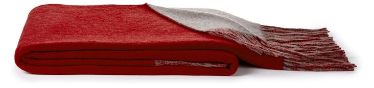 Bi-Color Cashmere-Blended Throw, Red