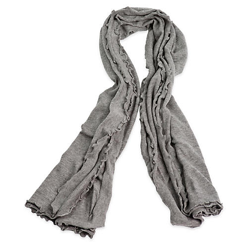Lettuce Edged Cashmere-Blend Wrap, Gray