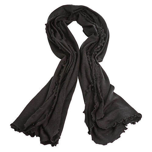 Lettuce Edged Cashmere-Blend Wrap, Black