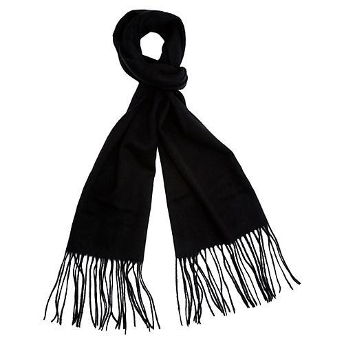 Cashmere-Blend Waterweave Scarf, Black
