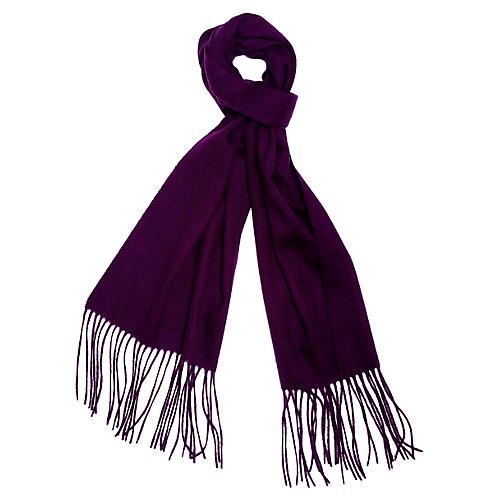 Cashmere-Blend Waterweave Scarf, Violet