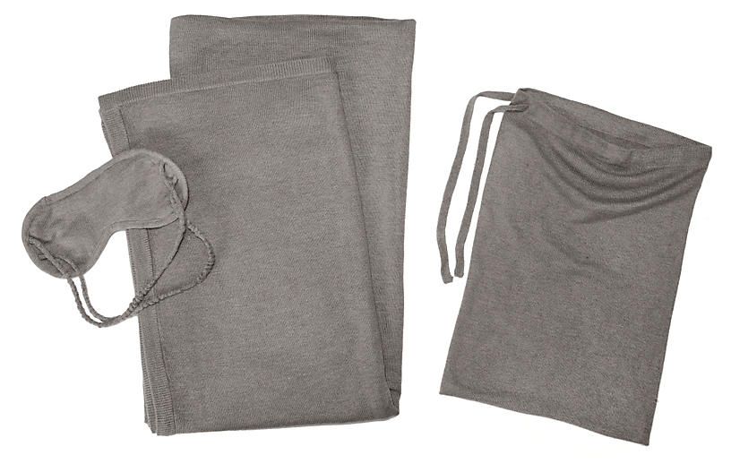 Cashmere-Blend Travel Set, Heather Gray