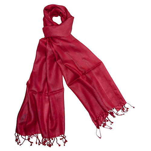 Handmade Silk Herringbone Wrap, Red