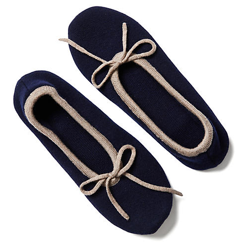 Two-Tone Cashmere Blend Slippers, Navy