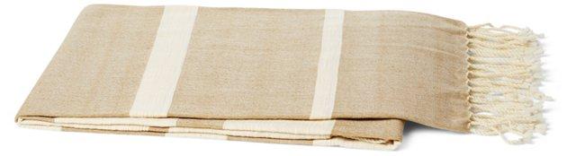 Striking Cotton-Blend Throw, Beige