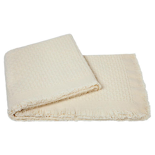 Basket-Weave Cashmere Throw, Cream