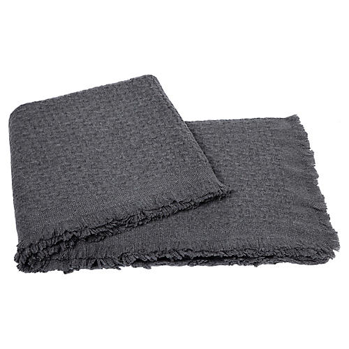 Basketweave Cashmere Throw, Heather Gray