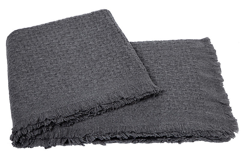Basketweave Cashmere Throw - Heather Gray