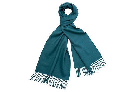 Alpaca Wool Solid Scarf, Lake