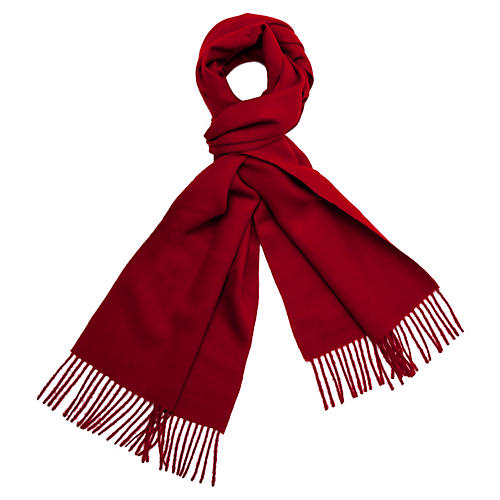 Alpaca Wool Solid Scarf, Crimson